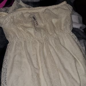 Cream colored lace strapless dress